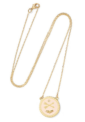 Foundrae - Passion Petite 18-karat Gold, Diamond And Enamel Necklace - one size
