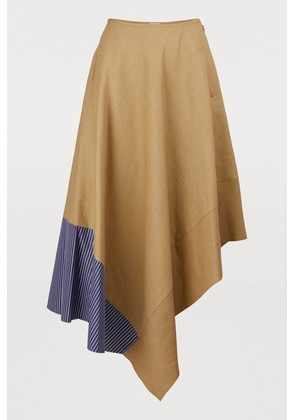Asymmetric skirt with striped panel