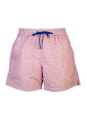 Belsire Pink Fish Print Fast-Dry Polyester Swimming Shorts
