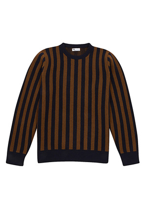 Doppiaa Brown and Navy Wool Striped Round Neck Sweater