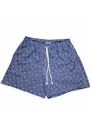 Calabrese 1924 Blue and White Flower Swim Shorts