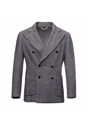 G. Inglese Navy and White Houndstooth Unlined Double-Breasted Wool Jacket