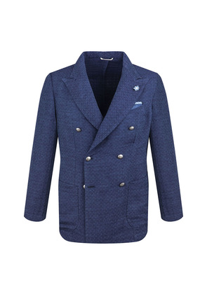 G. Inglese Navy Jacquard Cotton Double-Breasted Blazer