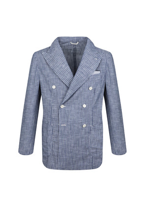 G. Inglese White and Blue Stripe Cotton Double-Breasted Blazer