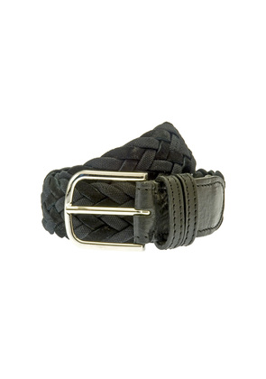 Belsire Black Woven Rope and Suede Belt