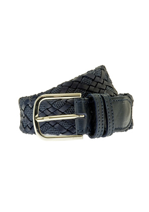Belsire Navy Woven Rope and Leather Belt