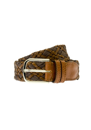 Belsire Tan Woven Rope and Leather Belt