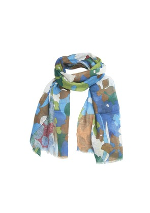 Calabrese 1924 Green and Bordeaux Floral Linen Scarf
