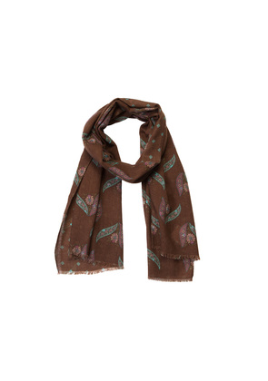 Calabrese 1924 Brown and Turquoise Floral Pattern Lana Wool Scarf