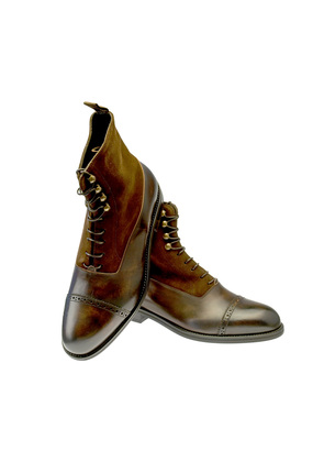 Belsire Brown Leather and Suede Oxford Boots
