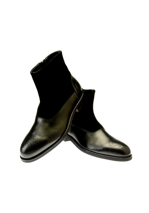 Belsire Black Leather and Suede Chelsea Boots