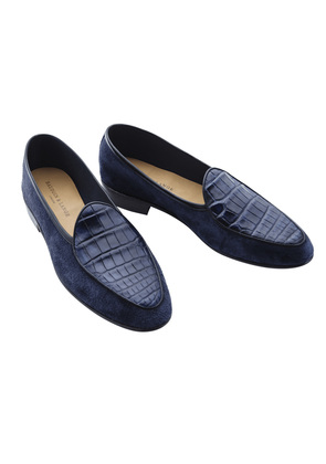 Baudoin & Lange Navy Suede and Lizard Loafers