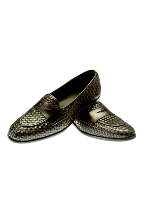 Belsire Brown Brenno Woven Leather Loafers