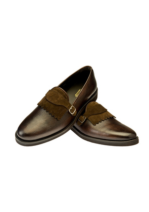Belsire Brown Geppi Hammered Leather and Suede Fringe and Monk Strap Loafers
