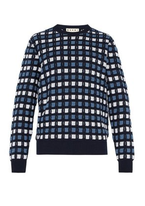 Marni - Textured Crew Neck Knitted Cotton Sweater - Mens - Blue