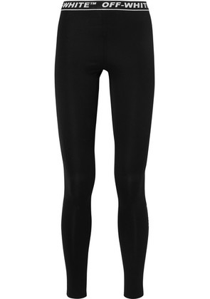 Off-White - Perforated Stretch-jersey Leggings - Black