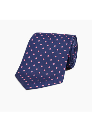 Navy and Pink Spot Printed Silk Tie