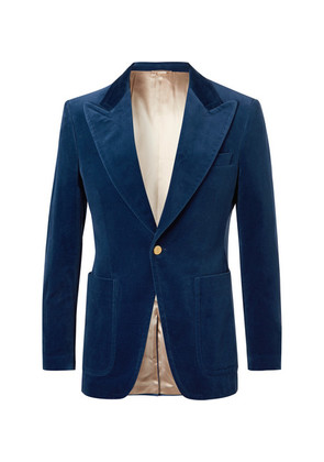 Gucci - Blue Slim-fit Cotton-blend Velvet Blazer - Blue