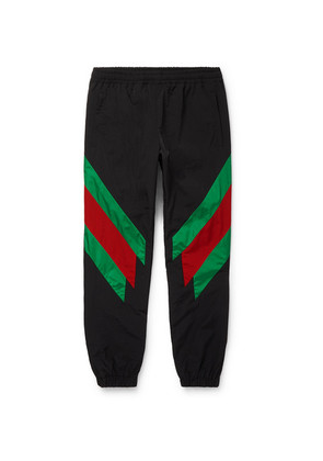Gucci - Tapered Striped Shell Trousers - Black