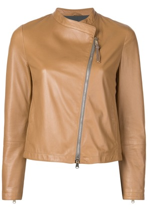 Brunello Cucinelli panelled biker jacket - Brown