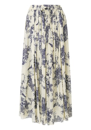 Forte Forte pleated floral print skirt - Neutrals