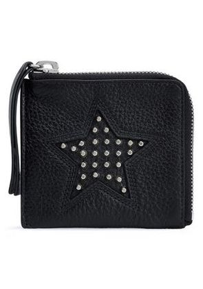 Mcq Alexander Mcqueen Woman Studded Pebbled-leather Coin Purse Black Size -