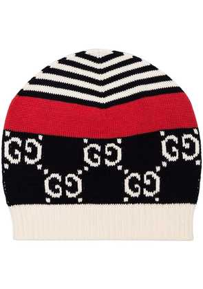 Gucci blue, white and red GG motif cotton beanie hat - 102 - Blue