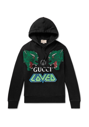 Gucci - Oversized Printed Loopback Cotton-jersey Hoodie - Black