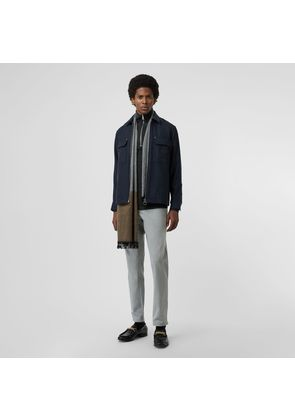 Burberry Embroidered Crest Wool Overshirt, Blue