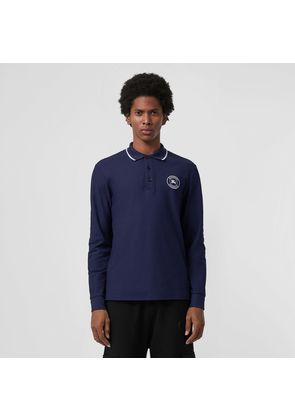 Burberry Long-sleeve Embroidered Logo Cotton Polo Shirt, Blue
