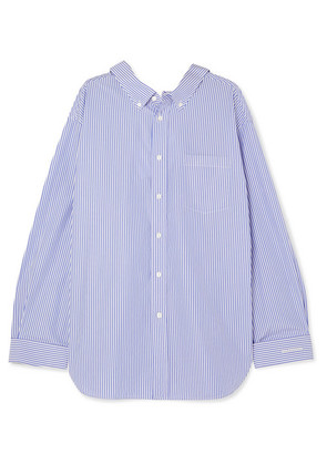 Balenciaga - Swing Printed Striped Cotton-poplin Shirt - Blue