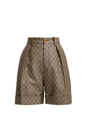 Gucci - Gg High Rise Cotton And Wool Blend Shorts - Womens - Beige Multi