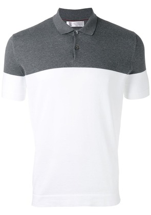 Brunello Cucinelli colour block polo shirt - Grey