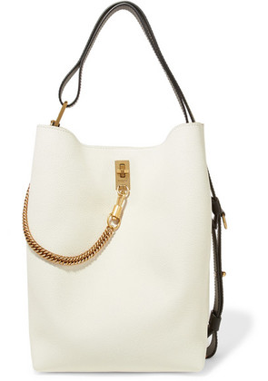 Givenchy - Gv Bucket Textured-leather And Suede Shoulder Bag - White