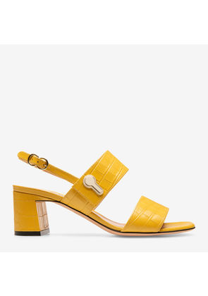 Bally Cellese Orange, Women's croc printed calf leather sandal with 55mm heel in gold sand