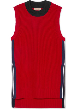 Burberry - Ribbed Wool And Cashmere-blend Tank - Red