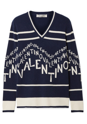 Valentino - Intarsia Wool And Cashmere-blend Sweater - Navy
