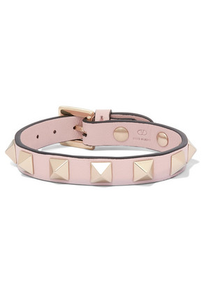 Valentino - Valentino Garavani The Rockstud Leather And Gold-tone Bracelet - Pink