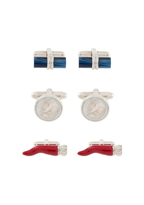 Fefè pack of three cufflinks - White
