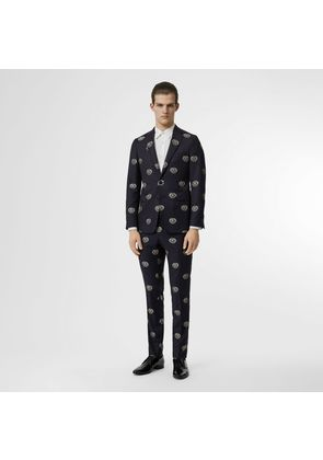 Burberry Slim Fit Fil Coupé Crest Wool Tailored Trousers, Blue