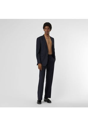 Burberry Classic Fit Pinstriped Wool Tailored Trousers, Blue