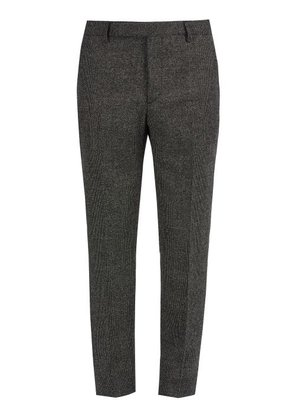 Saint Laurent - Slim Leg Checked Wool Trousers - Mens - Grey