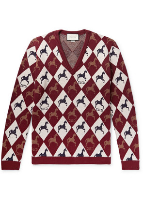 Gucci - Wool-jacquard Sweater - Burgundy