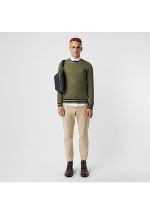 Burberry Embroidered Crest Cotton Silk Sweater, Green