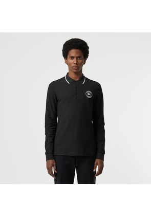 Burberry Long-sleeve Embroidered Logo Cotton Polo Shirt, Grey