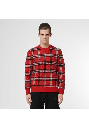 Burberry Check Cashmere Jacquard Sweater, Red
