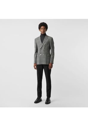 Burberry Slim Fit Check Wool Double-breasted Jacket, Black