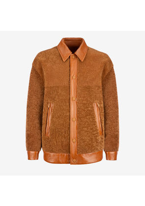 Bally Shearling Jacket Brown, Men's lamb shearling jacket in cowboy