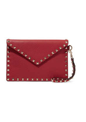 Valentino - Valentino Garavani The Rockstud Textured-leather Pouch - one size
