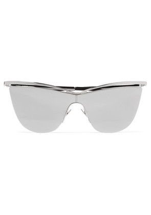 Saint Laurent - Cat-eye Silver-tone And Acetate Mirrored Sunglasses - one size
